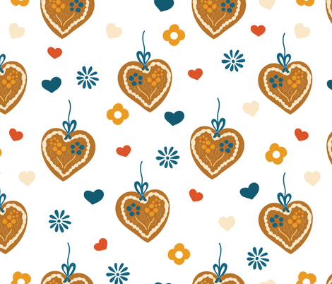 Gingerbread hearts on white fabric by sandra_hutter_designs on Spoonflower - custom fabric