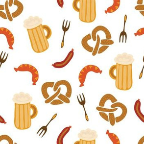 Oktoberfest print. Beer, sausages, pretzels and forks