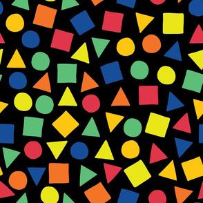 Geometric rainbow shapes on black background