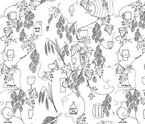 Craft Beer Crazy fabric by a_bushel_of_hops on Spoonflower - custom fabric