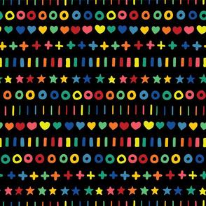 Rainbow doodles on black background