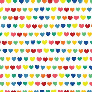 Rainbow doodle hearts on white