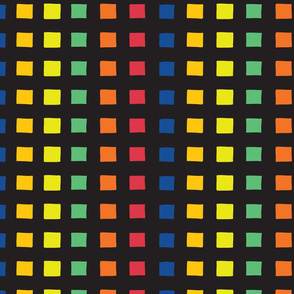 Black grid over rainbow squares