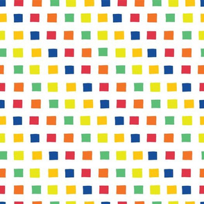 White grid over rainbow squares
