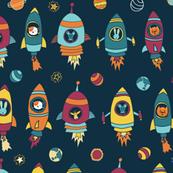 Animal astronauts in space on dark blue