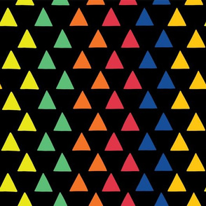 Rainbow triangles on a black background