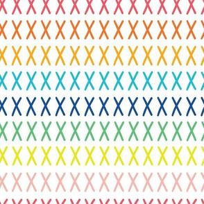 Rainbow cross stitch on white