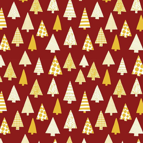Textured Christmas trees white and gold on red
