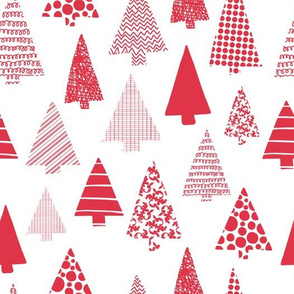 Red textured Christmas tree silhouettes on white