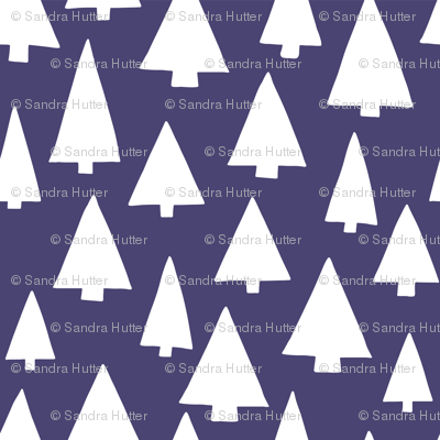 Silhouettes of white Christmas trees on dark blue