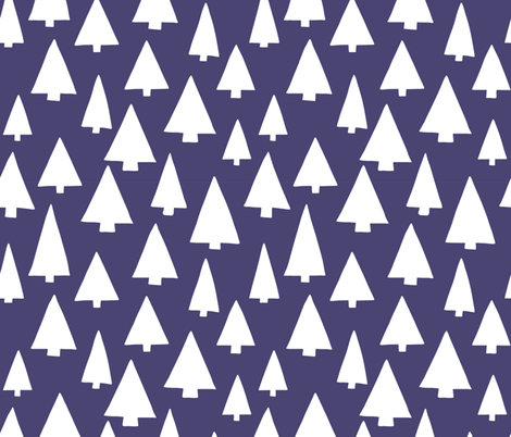 Silhouettes of white Christmas trees on dark blue fabric by sandra_hutter_designs on Spoonflower - custom fabric