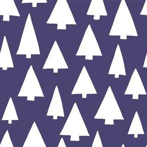 Silhouettes of white Christmas trees on dark blue