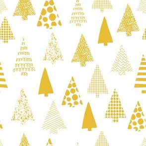 Golden textured Christmas tree silhouettes on white