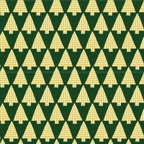 Golden and white textured Christmas tree silhouettes on dark green