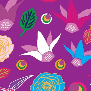 Flowers Colurful Festival-Flowers in Bloom Seamless Repeat Pattern. Pattern Background.