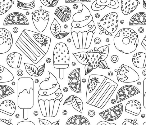 coloring book food frenzy lake  fabric by danira on Spoonflower - custom fabric