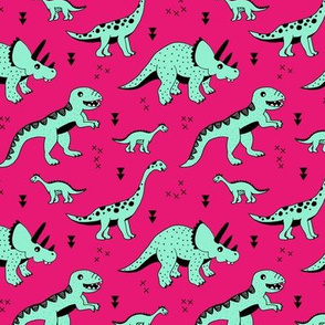 Cool Scandinavian kids dino friends dinosaur pattern girls fuchsia pink mint