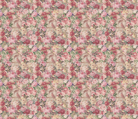 Romantic Florals And Birds fabric by andrea_haase_design on Spoonflower - custom fabric