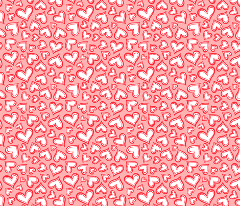 Valentines-love-hearts-pink-red-Medium fabric by paisleypower on Spoonflower - custom fabric