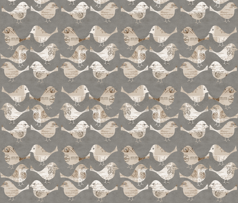Quilted Birds Pattern  fabric by andrea_haase_design on Spoonflower - custom fabric