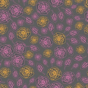 Flowers Line Silhouette-Flowers in Bloom Pattern.