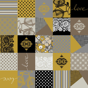 Bohemian Patch Mustard Grey Black White Brown Cheater Fake Quilt Wholecloth