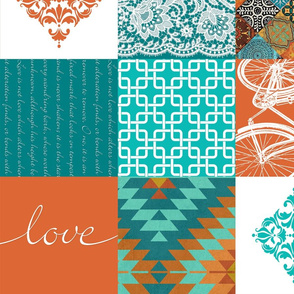 Bohemian Patch Orange Teal White Cheater Fake Quilt Wholecloth