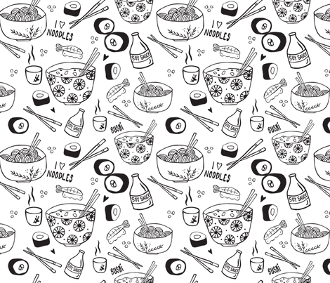 NoodleLove fabric by sketchcreative on Spoonflower - custom fabric