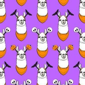 (small scale) halloween loving llamas w/ headbands - purple C18BS
