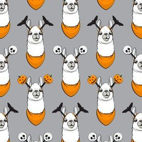 (small scale) halloween loving llamas w/ headbands - grey and orange C18BS
