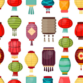 Chinese lantern seamless pattern
