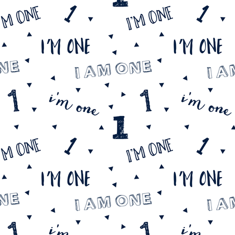 I'm one // first birthday (navy) C18BS fabric by littlearrowdesign on Spoonflower - custom fabric