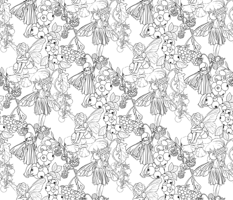 FAERIES AND  FRUIT on White  fabric by house_of_heasman on Spoonflower - custom fabric