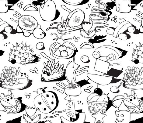 Fun food coloring book fabric by camcreative on Spoonflower - custom fabric