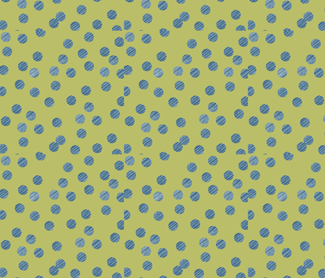 AB_1027_A Blue texture polka dots on green surface fabric by charlotte_donaldson_fabrics on Spoonflower - custom fabric