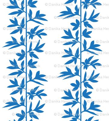 vine stripe blue on white
