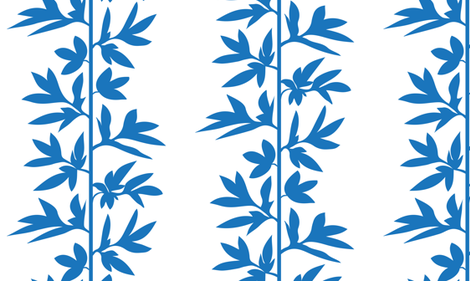 vine stripe blue on white fabric by danika_herrick on Spoonflower - custom fabric