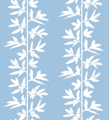 peony stripe white on blue