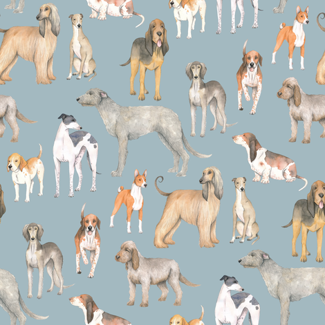 Hound dogs on blue fabric by daniwilliams on Spoonflower - custom fabric