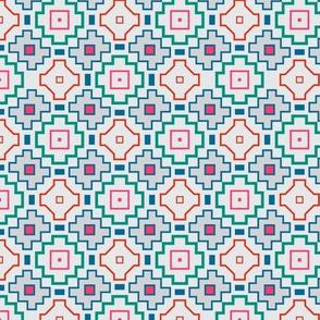Tribal Geometric Gray Blue Green Pink