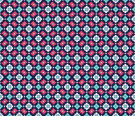 Tribal Geometric Magenta Navy White Teal fabric by miridesign on Spoonflower - custom fabric
