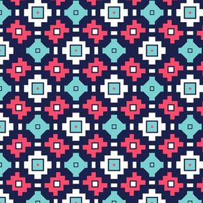 Tribal Geometric Magenta Navy White Teal