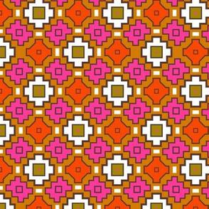 Tribal Retro Geometric Orange Brown Pink