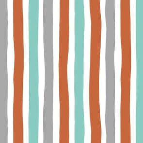 Rainbow beams abstract vertical stripes trend colorful modern minimal design boys mint copper gray Medium