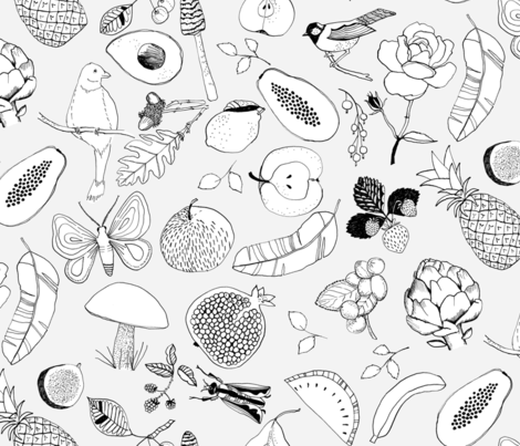 Fruits and birds fabric by juliaschumacher on Spoonflower - custom fabric
