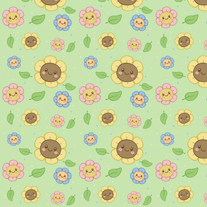 Kawaii Flowers  on Green