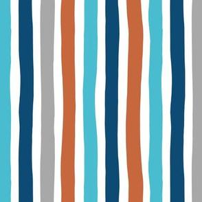 Rainbow beams abstract vertical stripes trend colorful modern minimal design gender neutral blue copper winter Medium