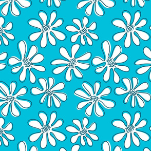 Large White Gerberas on Turquoise