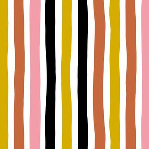 Rainbow beams abstract vertical stripes trend colorful modern minimal design girls autumn pink copper ochre MEDIUM