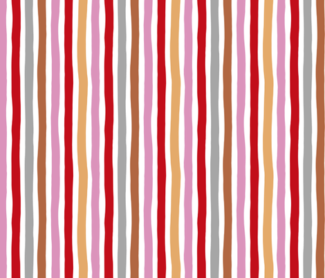 Rainbow beams abstract vertical stripes trend colorful modern minimal design girls summer autumn pink copper red  MEDIUM fabric by littlesmilemakers on Spoonflower - custom fabric